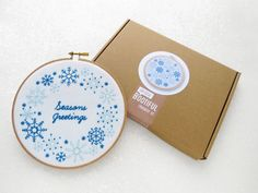 Snowflakes Embroidery Kit Christmas Craft Kit Xmas DIY Gift Modern Needlework Kit DIY Stocking Filler Gift For Her Seasons Greetings. by OhSewBootiful #embroidery #etsy #etsyuk #gifts #giftsforher #homedecor #hoopart #fiberart #handembroidery #handmade #ohsewbootiful