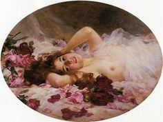 Beauty and Rose Petals (1901), Louis Marie de Schryver - #Art #LoveArt https://wp.me/p6qjkV-6Y7