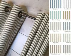Farmhouse Ticking Stripe Cafe Curtains/Drapes/Valance/Pillow -Overall Buckle Tab Top Colors-Custom Curtains -Ships in Biz Days Tab Top Curtains, Drapes Curtains, Valance, Drapery Hardware, Drapery Panels, Ticking Stripe, Custom Curtains, Blue Ivory, Ticks