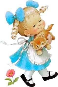Fillette blonde, printemps, été, chat roux; Ruth Morehead