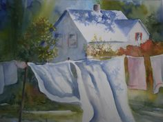 Monday Morning  by  MJ Milbrandt #laundry #watercolor #