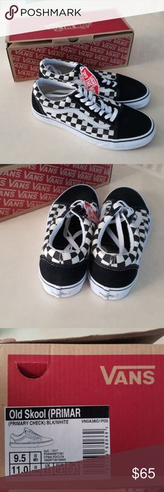 7e82938bcb64 Van s old skool sneakers 9.5 New with tags and box Primary check Mens 9.5  Vans Shoes