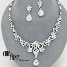 HIGH END PRINCESS CLEAR CRYSTAL PROM WEDDING FORMAL NECKLACE JEWELRY SET CHIC