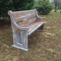 62 Glazed Old-World Style Wooden Church Pew Hallway Decorating, Porch Decorating, Entryway Decor, Entry Foyer, Decorating Ideas, Church Pew Bench, Church Pews, Door Bench, Painted Furniture