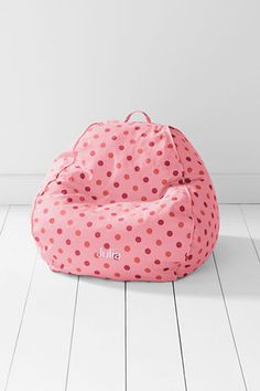 personalized bean bag, possibly for reading nook or play room