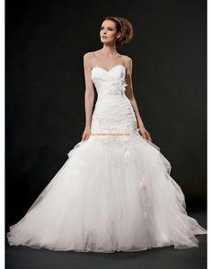 Col en cœur Sans manches Lacets Robes de mariée 2015