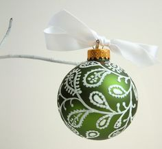 Christmas Green Paisley Holiday Glass Ornament $10