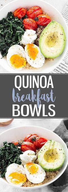 Savory Quinoa Breakfast Bowls - A hearty breakfast bowl great for breakfast, brunch, or even dinner! via @easyasapplepie