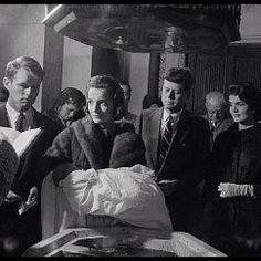 Caroline Kennedy's Christening December 1957. Godparents Bobby Kennedy and Lee Radziwil