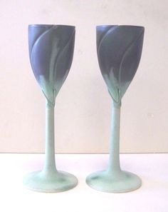 PAIR OF NEWMAN CERAMIC WORKS GREEN & BLUE LILY PORCELAIN HANDMADE WINE GOBLET