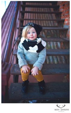 www.facebook.com/BReinphotography kids fashion, Infiniti scarf, slouchy beanie, Mustard pants, kids, kids style, style, chadron, street photography, children's photography
