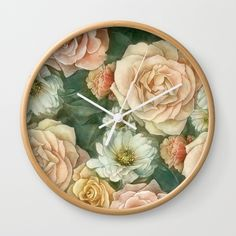 Floral rose pattern Wall Clock by StrijkDesign | Society6