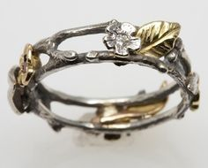 Floral Wreath Ring  in silver and 18K gold by FernandoJewelry, $435.00