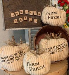 Velvet Pumpkins, Fabric Pumpkins, Fall Pumpkins, Fall Canvas Painting, Thanksgiving Decorations, Fall Decorations, Fall Halloween, Halloween Mantel, Halloween Ideas