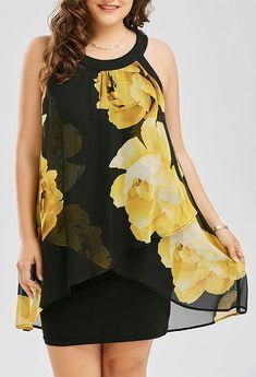 Plus Size Floral Print Overlay Sheath Dress - Yellow Spandex Floral Women's Dresses, Cheap Dresses, Cute Dresses, Evening Dresses, Casual Dresses, Fashion Dresses, Summer Dresses, Chiffon Dresses, Ladies Dresses
