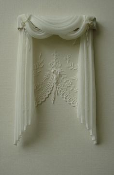 Miniature Dollhouse curtains to order Color - milk The curtains measure wide x 18 cm long.