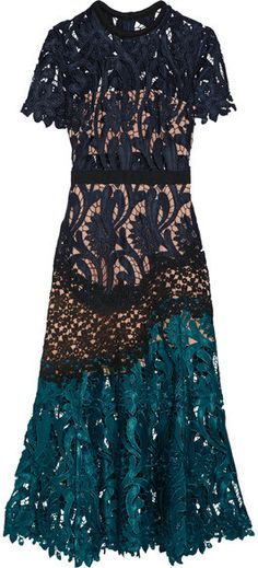 Self-Portrait - Prairie Guipure Lace Midi Dress - Midnight blue