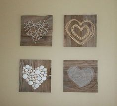 "Hang vertical columns from pallet/reclaimed wood header board ""Fill your world with LOVE"" have each kid bring in neutral item of their choice to make heart on wood square. each kd writes ""love"" in a different language under the heart in white or black paint pen/ sharpie? Pallet Heart Art by Julie @ Renew-Create-Restore.blogspot.ca"