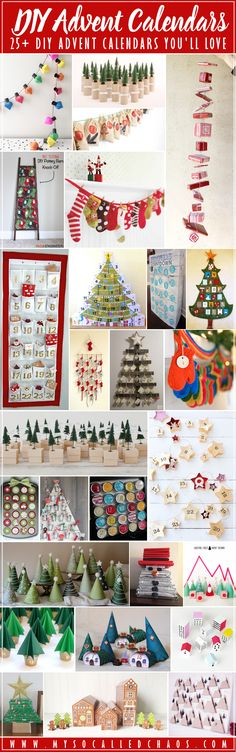 I couldn't find the perfect Advent Calendar this year... Until I checked Pinterest. Here are some of my favorite DIY Advent Calendars-now I have to decide which one is my favorite... I'm leaning towards either the Star Garland or the Mountains... Soooooo cute. 25+ DIY Advent Calendars for Your Christmas Countdown http://mysocalledchaos.com/2017/11/diy-advent-calendars.html