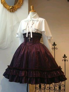 Atelier Boz lolita above all. Wine red pinstripe high waist skirt with white capelet. Pretty Outfits, Pretty Dresses, Beautiful Dresses, Gothic Lolita Fashion, Victorian Fashion, Old Fashion Dresses, Fashion Outfits, Woman Dresses, Hipster Outfits