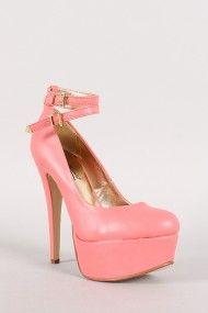 Anne Michelle Realove-05X Double Ankle Strap Almond Toe Platform Pump #urbanog
