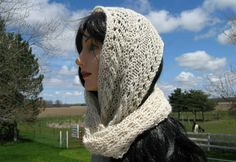 Knit Cowl, Infinity Scarf, White Baby Alpaca Cowl for Women, Circle, Loop Scarf by NorthStarAlpacas on Etsy