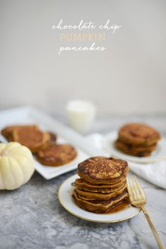 Pumpkin Pancakes with Chocolate Chips.
