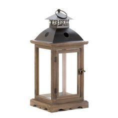 Large Rustic Wood Lantern Unique Holiday Home Decor Votive Candleholder New | eBay