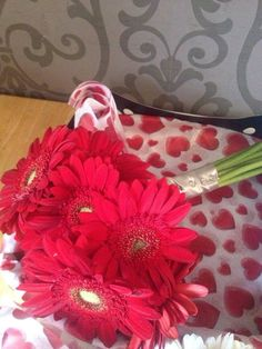 Red gerbera bouquet by TMS events at Albrighton Hall Shropshire