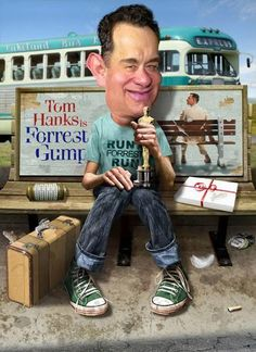 """Tom Hanks - Forrest Gump """"Life is like a box of chocolate, you will never know what you gonna get."""" Funny drawings of famous faces and caricature art of celebrities Funny Caricatures, Celebrity Caricatures, Cartoon Faces, Funny Faces, Tom Hanks Forrest Gump, Caricature Online, Create A Comic, Caricature Drawing, Golf Humor"""