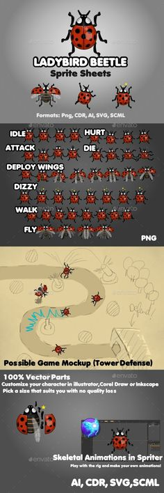 #Ladybird Beetle - Sprites #Game Assets Download here: https://graphicriver.net/item/ladybird-beetle/19813875?ref=alena994