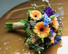 Wildflower Wedding Bouquet  tied with burlap.