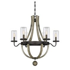 Bring chic rustic style lighting outside with the Mott 6 Light Outdoor Chandelier! Exposed bulbs are protected by clear glass cylinders and flanked by a curvy frame in a textural weathervane finish. Damp area rated.