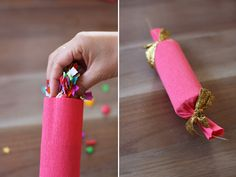 how to make confetti poppers | Fan out the ends and trim the ends of the cracker snap.