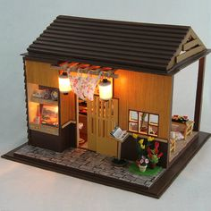 DIY Japan Sushi House Miniature Kit Izakaya Dollhouse door UniTime
