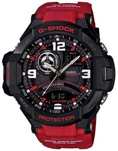 Casio G-Shock GRAVITYMASTER Aviator Watch - Black & Red - Anti-Magnetic