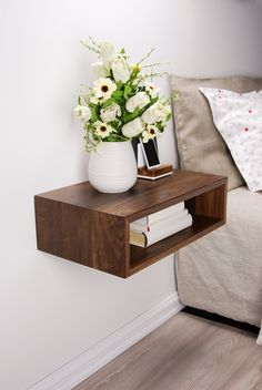 Solid Walnut Wood Floating Nightstand / Floating Walnut Bedside Table / Mid-century / Scandinavian / Eames – Anime pictures to hairstyles Walnut Bedside Table, Bedside Tables, Wood Nightstand, Nightstand Ideas, Floating Nightstand Ikea, Bedside Table Ideas Diy, Floating Headboard, Floating Table, Decoration Home