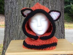 Fox Hooded Cowl by Cin's Knits n Things.  This is a very warm and cozy hooded cowl and is the perfect accessory for those chilly winter days! Wear the cowl tucked in or out, you can pull it back and wear it just as a cowl. It is made with soft bulky yarn and is very warm. #cinsknitsnthings. Be sure to check out my other items at www.etsy.com/shop/CinsKnitsNThings