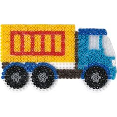 A new Hama Bead Lorry pegboard. This great Truck Template for Midi Hama Beads is ideal for boys crafts, vehicle activites & lorry obsessions. Perler Bead Designs, Hama Beads Design, Pearler Bead Patterns, Perler Bead Art, Perler Patterns, Plastic Bead Crafts, Pearl Beads Pattern, Origami 3d, Peler Beads