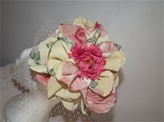 'Floral Time'..NOW ON SALE $85. To shop; https://madeit.com.au/Main/Item?itemId=1052402  spring summer raceday headwear hat pink yellow fascinator headpiece headwear feminine elegant headpiece milliner millinery
