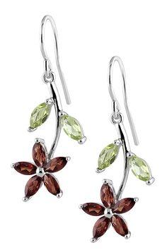 Garnet & Peridot Flower Dangle Earrings on HauteLook