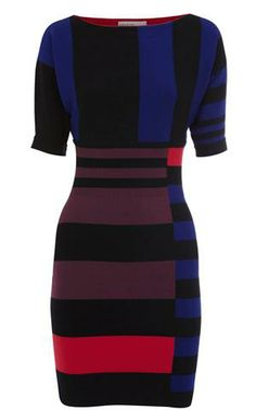 Karen Millen Striped Knit Dress Blue&Multicolor [#KMM129] - $86.19 :