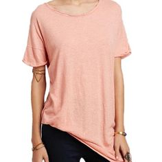 Free People Sunday Slub tee New with tags. Free People Sunday Slub linen blend asymmetrical hem tee in pink sand color.  A bit oversized so can size down. Free People Tops