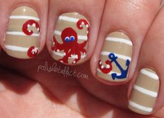 Beige and White Stripe Nautical Nails With Red Octopus and Anchor ⚓