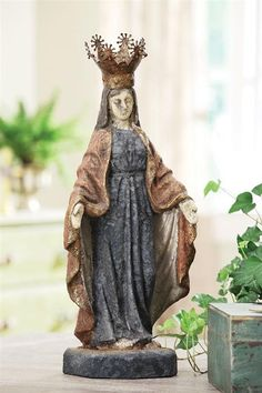 Antique Virgin Mary Statue w/ Removable Crown | Coastal Farmhouse