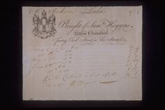 Copper-engraved billhead and handwritten invoice issued by Samuel Hoggins, tallow chandler located 'facing' Cecil Street in the Strand. Dated April-June 1757 the invoice refers to supply of candles to a Mr Hoskins. Tallow candles were the cheapest and commonest form of domestic candle in the mid 18th century. With the arrival of brighter and less foul smelling spermaceti candles, in the late 18th century, however, they gradually fell out of favour.