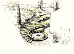 Easy Diy Garden Projects You'll Love Landscape Architecture Drawing, Landscape Sketch, Landscape Plans, Landscape Drawings, Landscape Design, Plan Sketch, Garden Illustration, Garden Drawing, Diy Garden Projects