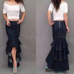 Plus Size XL Fashion Denim Fish Tail Skirt Layers Of Ruffles Mermaid Denim Skirt This is exactly my idea for the bottom of my dress!different fabric-and layered red and gunmetal :) Jeans Denim, Jeans Fit, Blue Jeans, Xl Fashion, Denim Fashion, Fashion 2016, Jeans Dress, Dress Skirt, Women's Pants