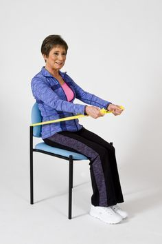 Abdominal strengthening in the chair with a resistance band.