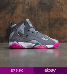 buy popular 6a0a6 4e03b Fly high in a new basketball shoe that resembles the Air Jordan VII. The  Girls  Grade School Jordan True Flight Basketball Shoes features an outsole  with ...